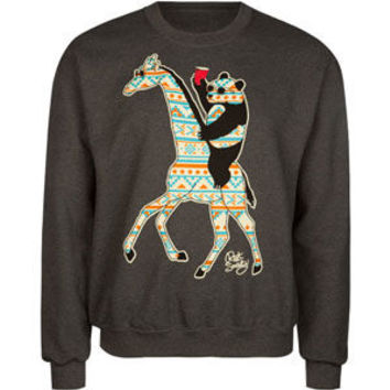 Riot Society Panda Giraffe Mens Sweatshirt Charcoal  In Sizes