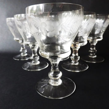 6 Etched Sherry Glasses, Port Glasses, Custard Cups, Vintage Barware, Old Stemware, Drinks Party, Desert or Appetizer Serving, Wedding Gift