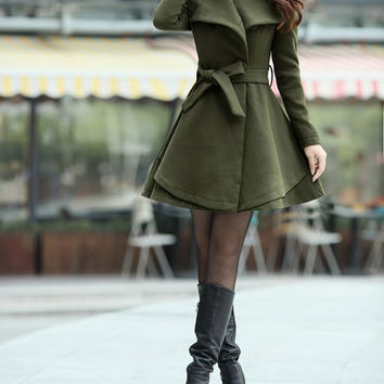 Army Green Long  Dress Spring Trench Coats Fashion Women Wool Windbreaker Coat Fitted Winter Cape Jacket-WH072 M,L,XL,XXL