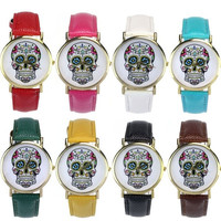 Women Men Punk Skull Analog Watch Leather Band Quartz Wrist Watch = 1931976644