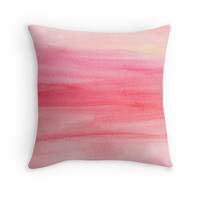 Pink Ombre Watercolor Throw Pillow