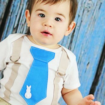 Easter Bunny Baby Boy Tie Onesuit with Suspenders  - Pick your colors