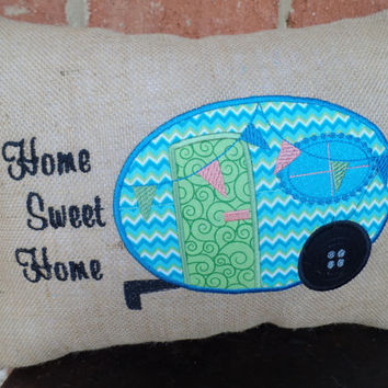 "Embroidered Burlap Pillow  ""Home Sweet Home "" Camper Decorative Pillow, ,  Appliqued pillow,burlap throw pillow, Travel pillow, glamper"