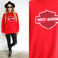 Vintage 80s HARLEY DAVIDSON Logo Red Pullover Sweatshirt // Biker Hipster Boho Grunge Gypsy // XS Extra Small / Small / Medium / Large