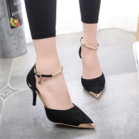 Women Suede Pumps High Heels Women OL Pumps Sexy High Heels Shoes Women Pointed Toe Thin Heel Zapatos Mujer Ladies Wedding Shoes