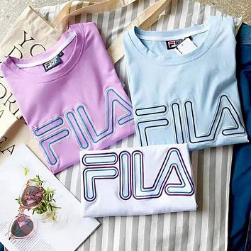 Fila Cotton Loose Big Word Leisure Tee Shirt Top B-YF-MLBKS Three Color