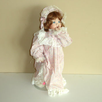 Vintage Porcelain Doll with Stand, 22 inches Tall, Auburn Hair, Blue Eyes, Toddler, Pajamas, Bunny Slippers, Eyelashes, Bisque China Doll