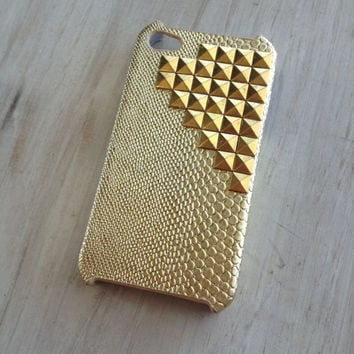 Gold snakeskin iphone 4 case / Gold studded iphone 4 protector case / snakeskin iphone case / studded iphone 4 case