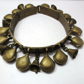 Antique Horse Collar Carriage Harness 21 Brass Metal Sleigh Bells Brass metal Strap Rare Collectible