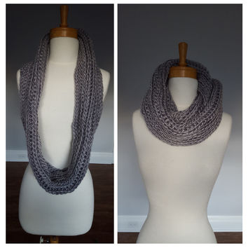 Gray Knit Infinity Scarf, Womens Winter Scarves, Chunky Knit scarf for fall and Winter