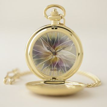 Floral Fantasy Gold Aubergine Abstract Art, Name Pocket Watch
