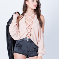 Criss Cross Open Sleeves Bodysuit