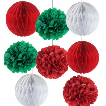 Pack of 8 Christmas Decorations Red/Green/White Tissue Paper Honeycomb Balls Tissue Pom Poms Set Honeycomb ChristmasTree Ball