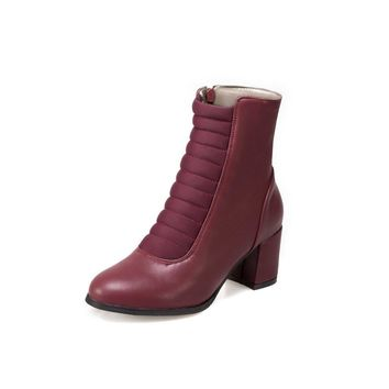 Faux Leather Women Short Boots Chunky Heeled 6553