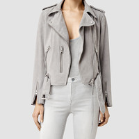 ALLSAINTS US: Womens Plait Balfern Biker Jacket (Light Grey)