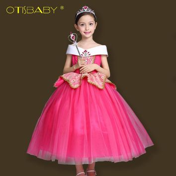 Autumn Aurora Princess Dress for Girls Sleeping Beauty Cosplay Costumes Kids Halloween Party Dress Children Christmas Clothes