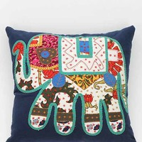 Magical Thinking Elephant Patchwork Pillow- Blue Multi One