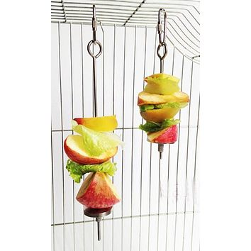 Stainless Steel Small Parrot Toy Meat Kabob Food Holder Stick Fruit Skewer Bird Treating Tool Durable Bird's cage Accessories