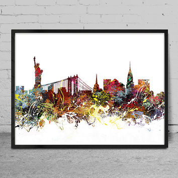 New York art, New York skyline, Painting, New York wall art, abstract art, New York Poster, Home Decor -x93