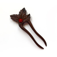 Hair fork, sticks, Floral hair accessories, Wood carving, Palisander, Red rose, Natural hair accessory, Designed and Handmade by MariyaArts