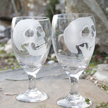 wine glasses skulls set of two hand engraved glass water goblets , custom barware  gift ideas