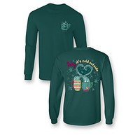Sassy Frass Comfort Colors Baby It's Cold Outside Heart Hot Chocolate Snow Christmas Long Sleeve Bright Girlie T Shirt