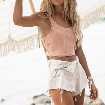 Buy Blush Ribbed Crop Online by SABO SKIRT