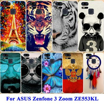 AKABEILA Durable Cell Phone Case For ASUS Zenfone 3 Zoom ZE553KL Z01HDA Covers Panda Tiger Captain American Shell Skin Hood Bags