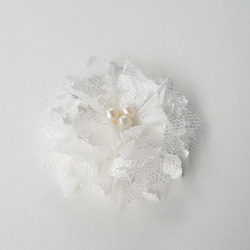 Nurichant on etsy on wanelo off white flower hair clips bridesmaids hair accessories lace flowers bridal hair pieces mightylinksfo