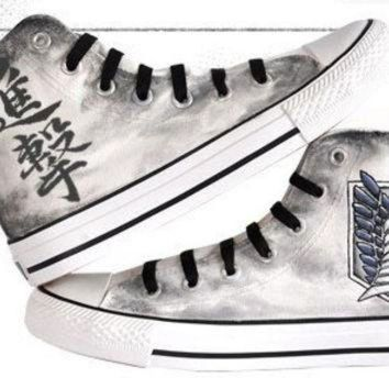 CREYUG7 attack on titan converse hand painted converse anime shoes anime converse attack on ti