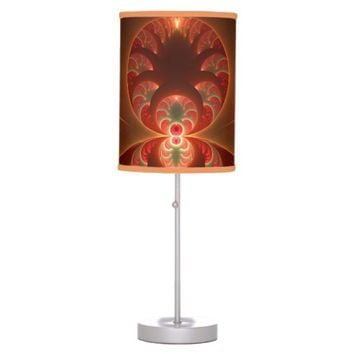 Luminous abstract modern orange red Fractal Table Lamp