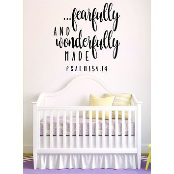Fearfully and Wonderfully Made Quote Wall Decal Sticker Bedroom Art Vinyl Beautiful Religious Scripture Psalm God Bible Verses Nursery Baby