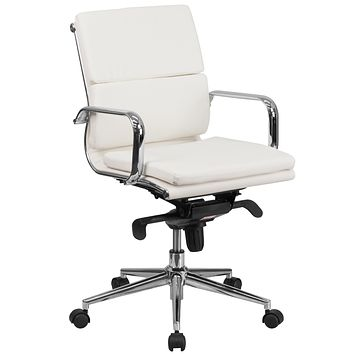 Mid-Back Leather Executive Swivel Office Chair with Synchro-Tilt Mechanism