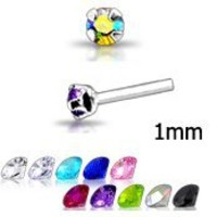 20 Pack Silver-Tone Nose Studs Rings 1mm stone 22G