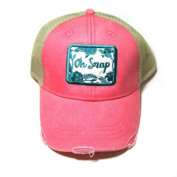 Distressed Snapback Trucker Hat - Oh Snap  -Teal on Coral Snarky Saying Sassy Hat