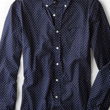 AEO 's Pindot Button Down Shirt (Navy)