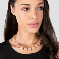 Delta Jeweled Necklace In Pale Pink