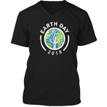 Earth Day 2018 Earth Colors Nature PEACE Design Shirts Mens Printed V-Neck T