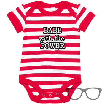 Babe with the power stripey baby body suit. Gift for geeky parents. Labyrinth inspired. David Bowie Inspired. Baby wear
