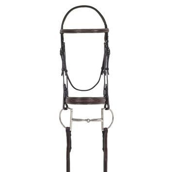 Ovation Elite Collection- Fancy Raised Comfort Crown Flat Wide Nose Padded Bridle with Fancy Raised Laced Reins