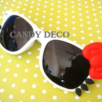 iCat Sunglasses With Black Lenses White/Red by GuiltyFreeCandy