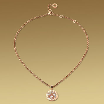 BVLGARI BVLGARI necklace in 18kt pink gold with pavé diamonds.