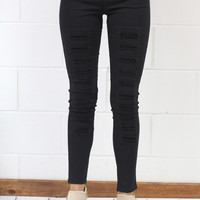 High Waist Distressed Jeggings {Black} Extended Sizes