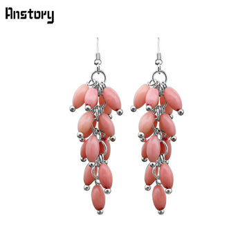 Personality Design Fashion Jewelry  White Gold Plated  Pink Coral Bead Dangle Earrings TE206