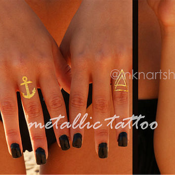 Set of 4 Metallic Tattoo Anchor Arrow