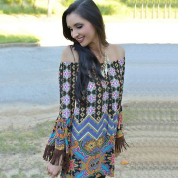 Vintage Boho Tassel Beachwear Dress