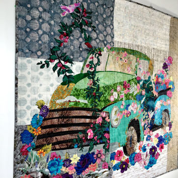 Old Truck Art Quilt - Flowers Over Grown -  Quilted Wall Hanging - Vintage Vehicle - Ford Pick Up - Vintage Chevy - Fiber Art - Antique Auto