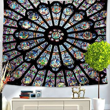 Cathedral Stained Glass Mandala Bed Wall Tapestry