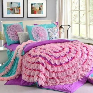 FADFAY Home Textile,Luxury Beautiful Wedding Bedding Set,Korean Designer Princess Bedding Set,Girls Purple Pink Lace Ruffle Bedding Set Queen Size,6Pcs