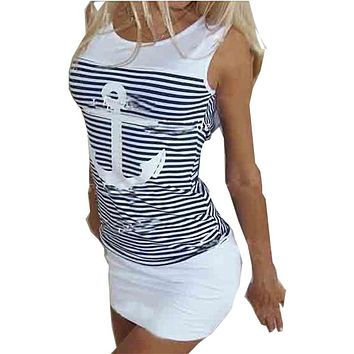 New 2017 Fashion summer dress Design Girls Womens Summer style Anchors sexy package hip striped dresses vestidos LX007